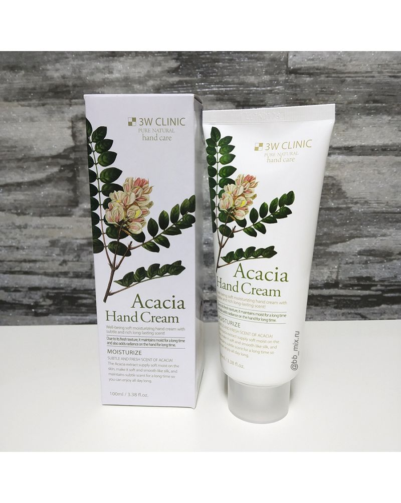 3W CLINIC, Крем для рук увлажняющий с экстрактом АКАЦИИ, Acacia Hand Cream, 100 мл