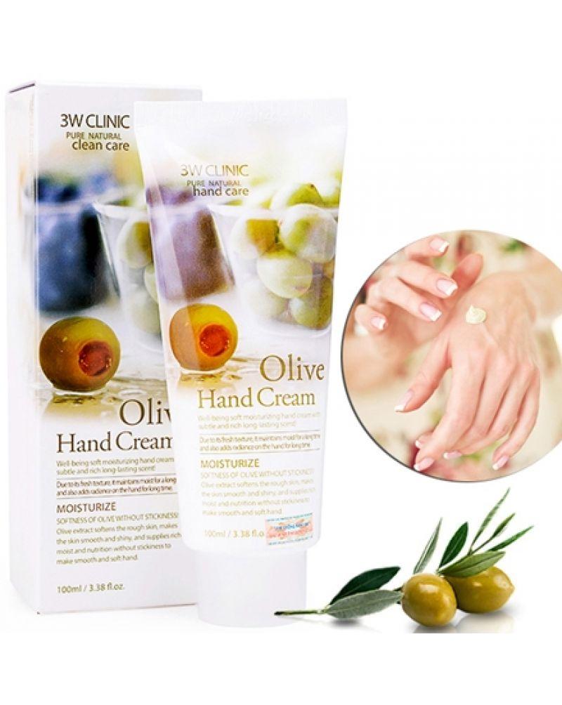 3W CLINIC, Крем для рук увлажняющий с экстрактом ОЛИВЫ, Olive Hand Cream, 100 мл.