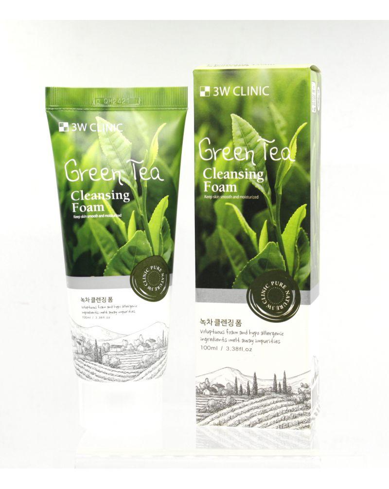 3W CLINIC, Пенка для умывания натуральная ЗЕЛЕНЫЙ ЧАЙ, Green Tea Foam Cleansing, 100 мл.