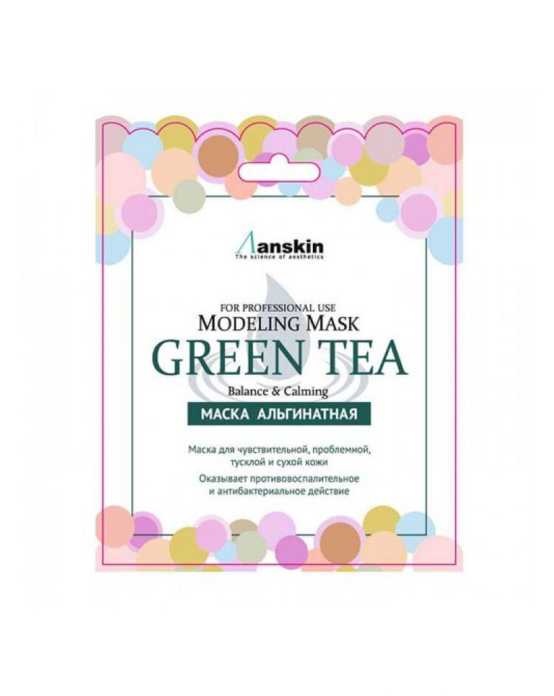 Anskin, Маска альгинатная с экстрактом зеленого чая, успокаивающая (саше), Green Tea Modeling Mask / Refill, 25 гр.