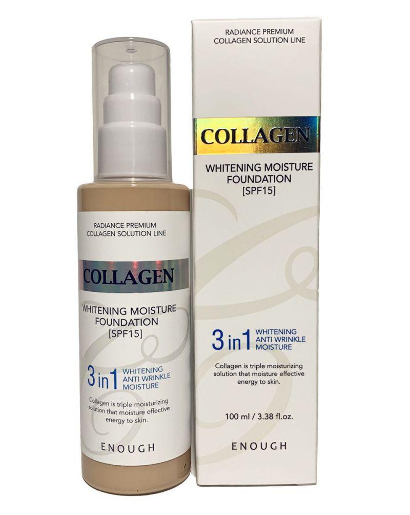 Enough, Тональный крем с коллагеном, 3 в 1, для сияния кожи, Collagen Whitening Moisture Foundation, SPF 15