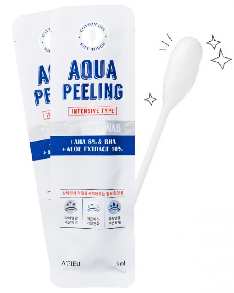A'PIEU, Палочка очищающая для лица с АНА и BHA-кислотами, Aqua Peeling Cotton Swab (Intensive), 3 мл.