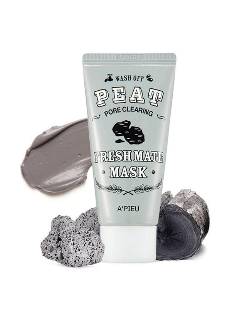 A'Pieu, Маска с вулканическим пеплом, для очищения и сужения пор на лице, Fresh Mate Peat Mask, 50 мл