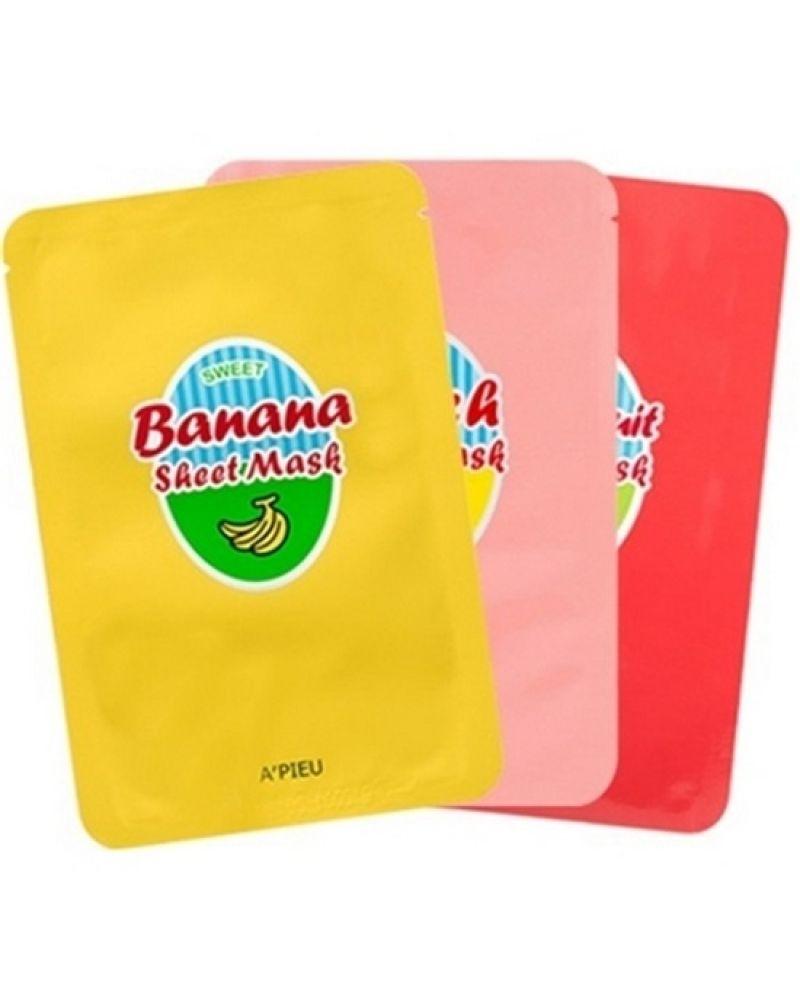 A'Pieu, Маска для лица, с фруктовыми экстрактами, Sweet Sheet Mask (Banana, Peach, Grapefruit)
