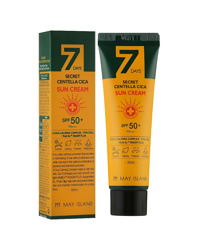 May Island, Солнцезащитный крем, с центеллой азиатской, 7 Days, Secret Centella Cica, Sun Cream, Spf50+, Pa+++, 30 мл